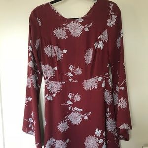 Burgundy Flare Sleeve Dress - Floral